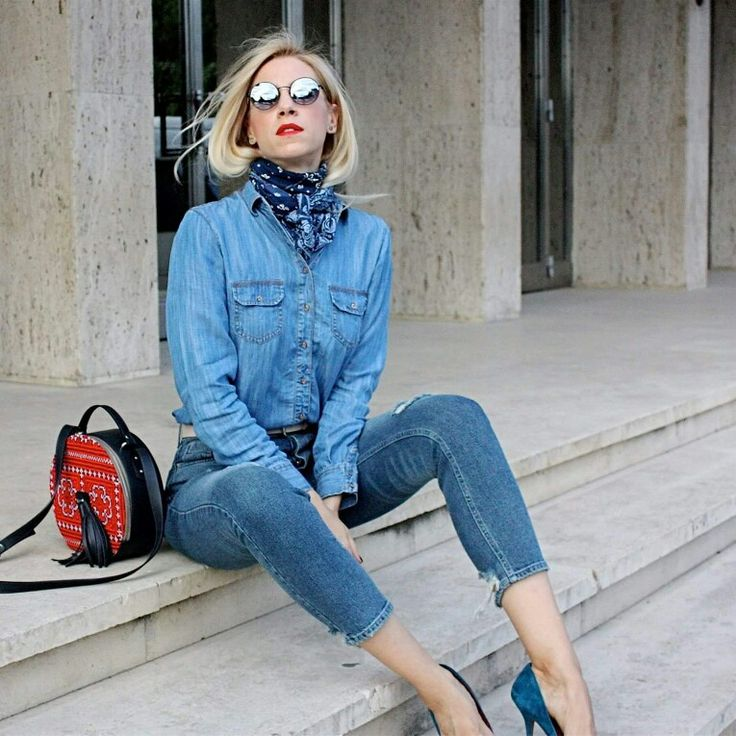 Sonia Argint Ionescu wearing Blue Jeans and ethnic patterns