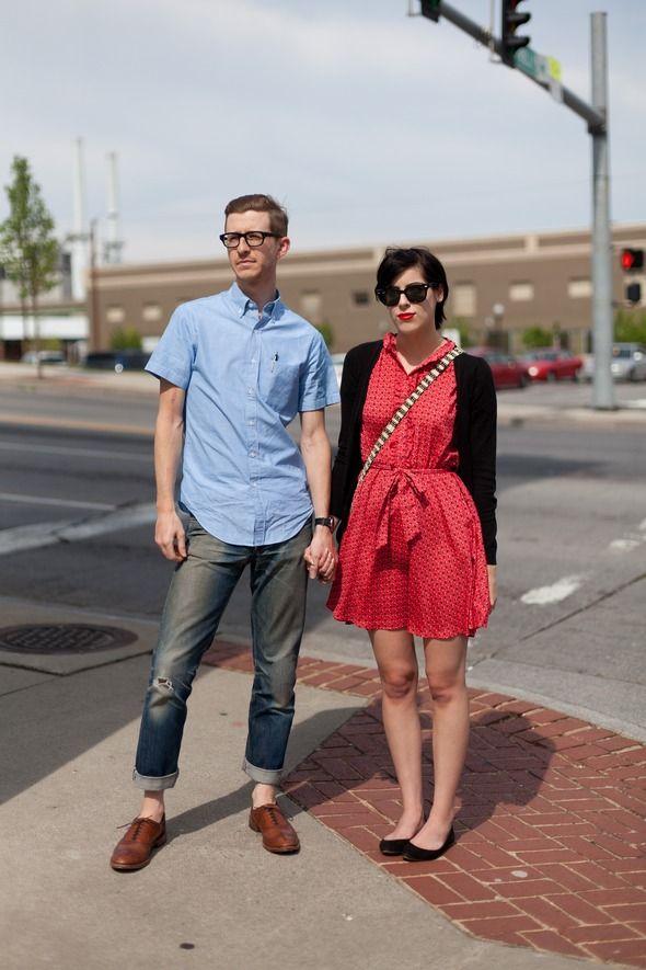 Dress denim jeans couple