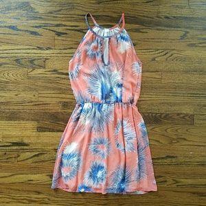I just added this to my closet on Poshmark: Birdcage orange sleeveless dress blue fireworks. Price: $30 Size: M