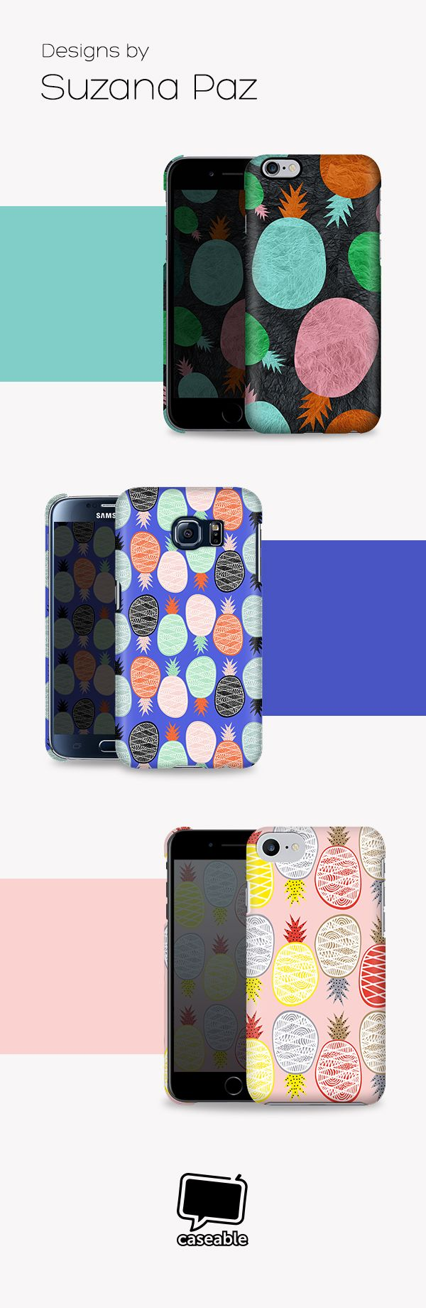 Pinapple designs by Susana Paz for your Smartphone Cover.
