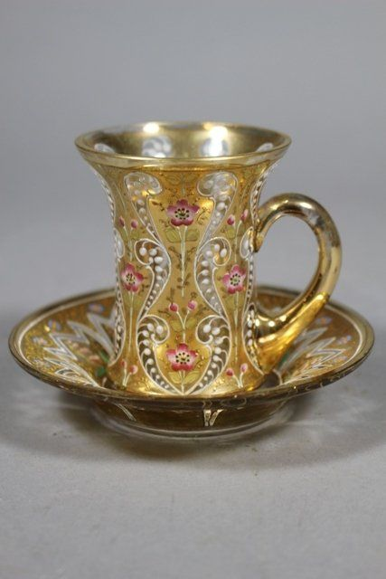 Moser Style Venetian Glass Tea Cup and Saucer