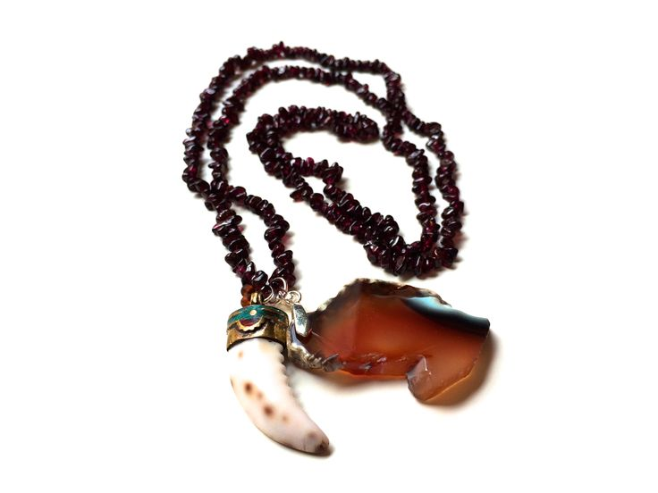 Garnet necklace with exotic pendant | Large Tibetan horn and Quartz | One of a Kind | Fashion | Jewelry | Accessories | Purple | Orange | Brown | Long   https://www.etsy.com/listing/198011242/garnet-necklace-with-exotic-pendant?ref=listing-1
