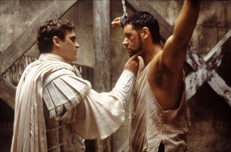 Joaquin Phoenix and Russell Crowe in Gladiator by Ridley Scott, 2000