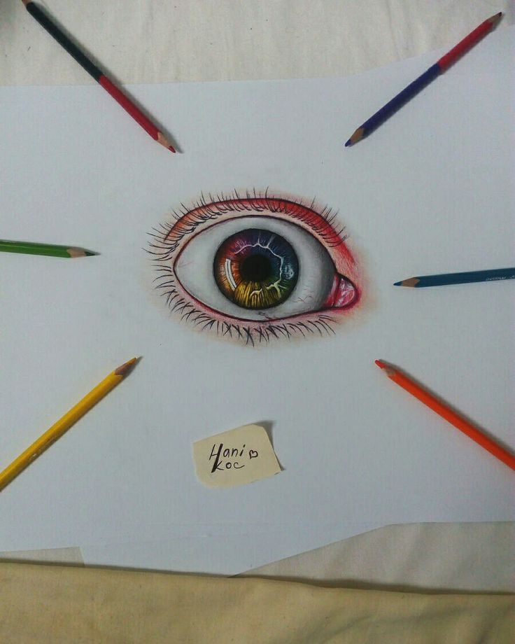 Eye drawing - colored pencils