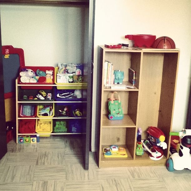 To make more space in a toy room -  Put a toy shelf in the closet. easily hid away when done playing.