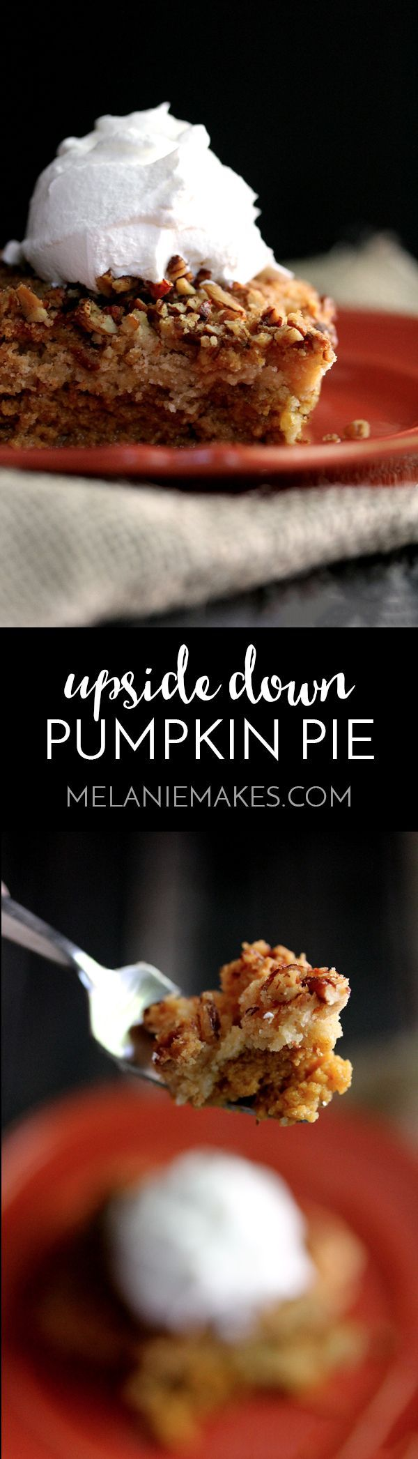 Forget the traditional and try something a bit different! This Upside Down Pumpkin Pie flips your traditional Thanksgiving dessert putting the pumpkin filling on the bottom and the crust-like crunch on top. The end result is anything but typical and one you'll ensure is on your Turkey Day menu from here on out!
