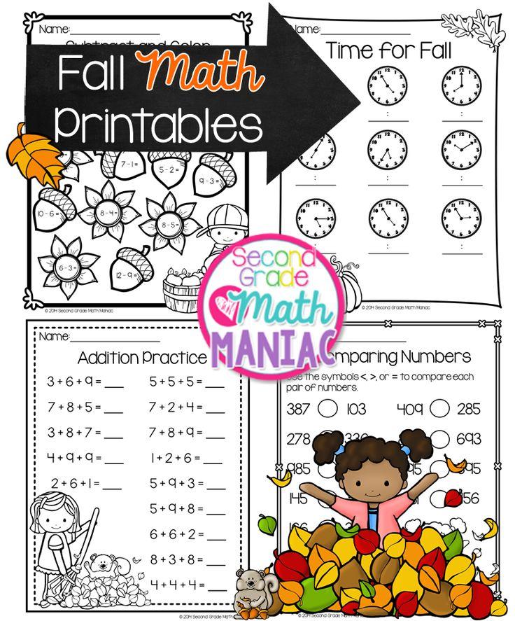 Second Grade Math Maniac: Fall Math Printables FREEBIE :)