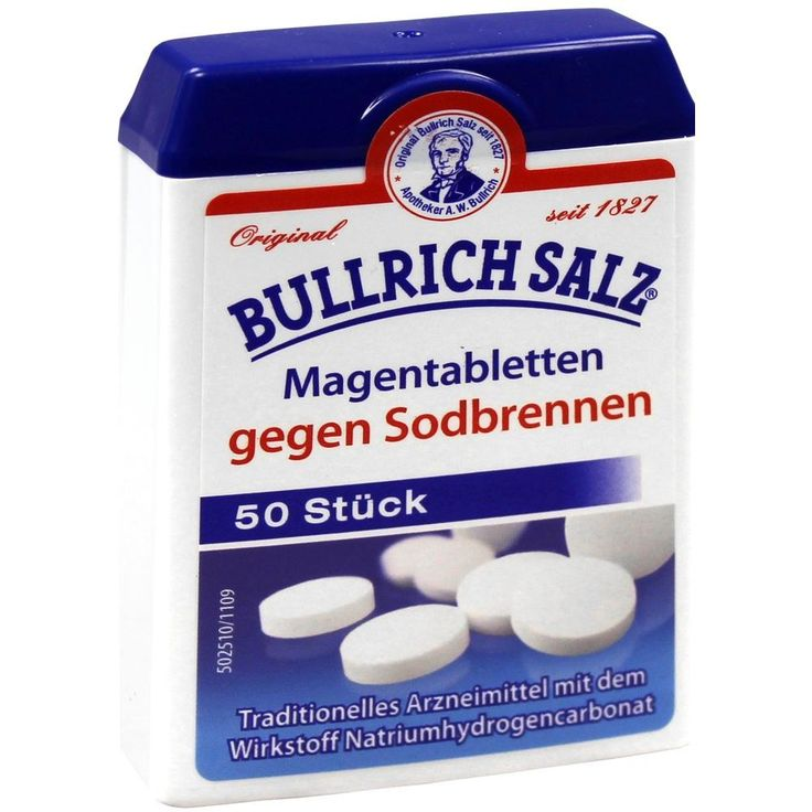 BULLRICH Salz Magentabletten gegen Sodbrennen:   Packungsinhalt: 50 St Tabletten PZN: 02535395 Hersteller: delta pronatura Dr. Krauss &…
