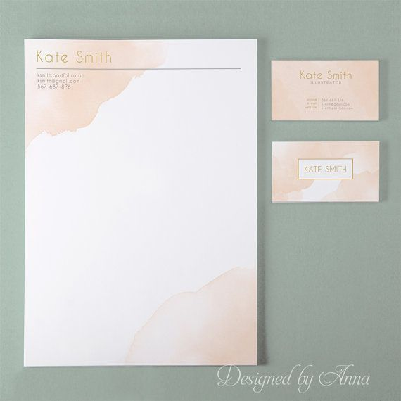Watercolor business card template and letterhead by designedbyanna