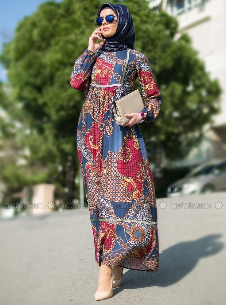 Patterned Dress - Navy Blue - Refka