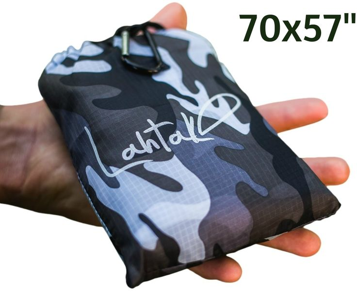 Lahtak Outdoor Blanket Rain Poncho – Large Picnic Blanket Pocket Size Folding – Emergency Waterproof Hooded (Buttons, Loops, Stakes, Bag): Travel, Horse, Camping, Hiking, Birdwatching, Fishing (Camo). This is the ONLY POCKET PICNIC BLANKET THAT PROTECTS YOU PROPERLY FROM THE RAIN because of THREE FEATURES: its large SIZE, built-in HOOD, and BUTTONS. You simply put it on and over your head and close the buttons, so you can easily brave even heavy showers. ALL ACCESSORIES INCLUDED. There…