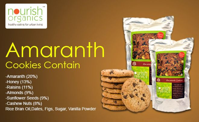 Mixed with honey, almonds, figs, dates and rice bran oil the super grain Amaranth cookie is the best option for munching.