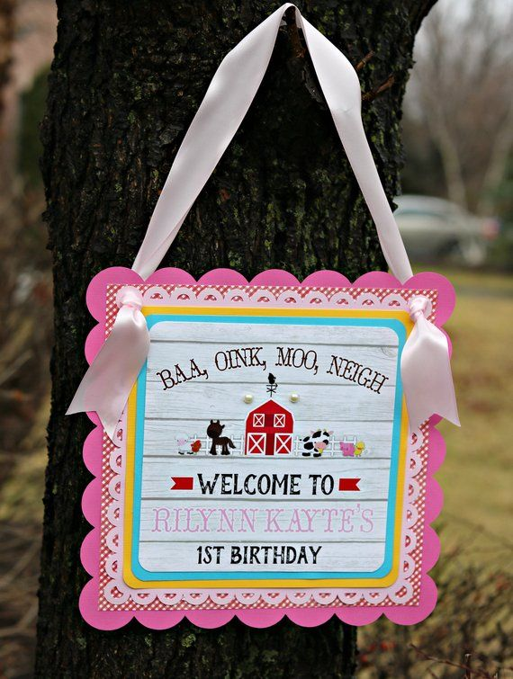 Farm Barnyard Birthday Welcome Sign Door Party Decorations Baby Animals Petting Zoo Pink