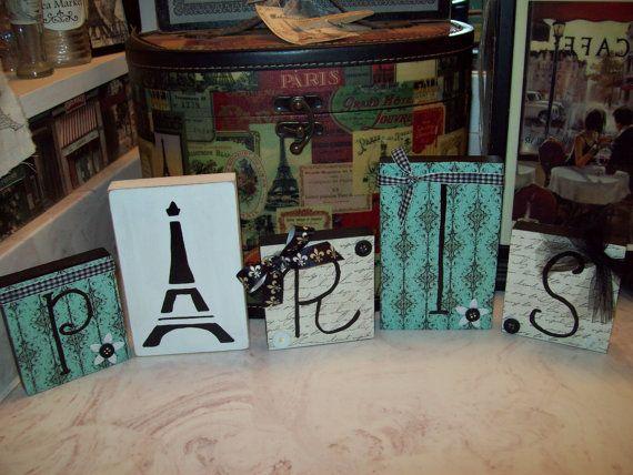Shabby French Decorative turquoise and black Paris blocks Eiffel Tower,Paris decor,French decor,shabby chic,Paris bedroom decor on Etsy, $18.00