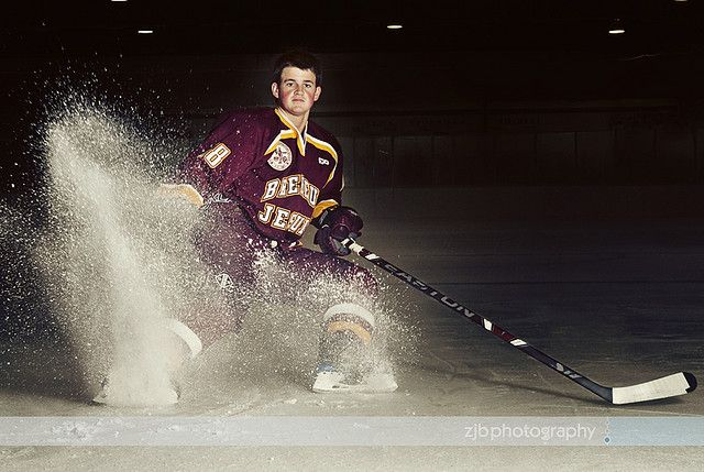 Hockey Portrait - senior idea ice spray