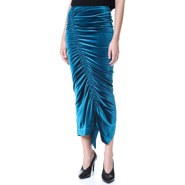 Preen By Thornton Bregazzi Sophie Skirt ($585) ❤ liked on Polyvore featuring skirts, blue skirt, shirred skirt, preen skirt, ruched skirt and velour skirt