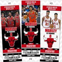 Chicago Bulls Birthday Invitation, Printable Ticket Invitation, Chicago Bulls Basketball Theme