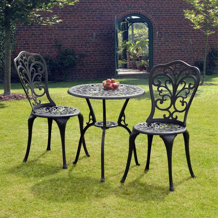 Outdoor Victorian Table: Sussex Black Cast Aluminium Bistro Set