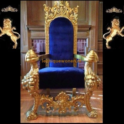 Barok Throne King Lion Gold Blue Velvet | Le Chique Wonen