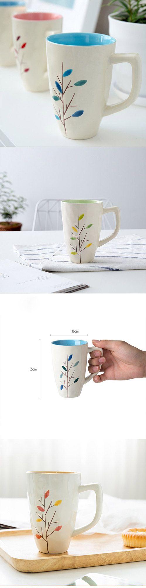 Handmade cute colorful tree oversized tea cup tall pottery funny coffee milk mug painted big large coffee cup ceramic vintage