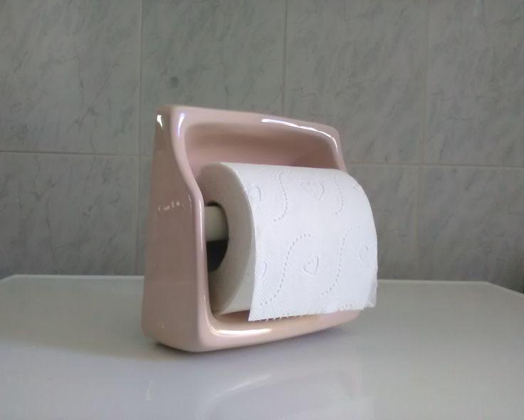 Porta carta igienica vintage - porta carta igienica porcellana rosa - Porta carta igienica ad incasso - Arredo bagno rosa - di VintaFai su Etsy