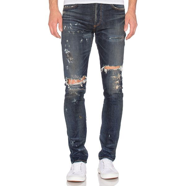 AGOLDE x A$AP FERG Super Skinny (396 AUD) ❤ liked on Polyvore featuring men's fashion, men's clothing, men's jeans, jeans, mens distressed skinny jeans, mens skinny fit jeans, mens super skinny jeans, mens button fly jeans and mens faded jeans