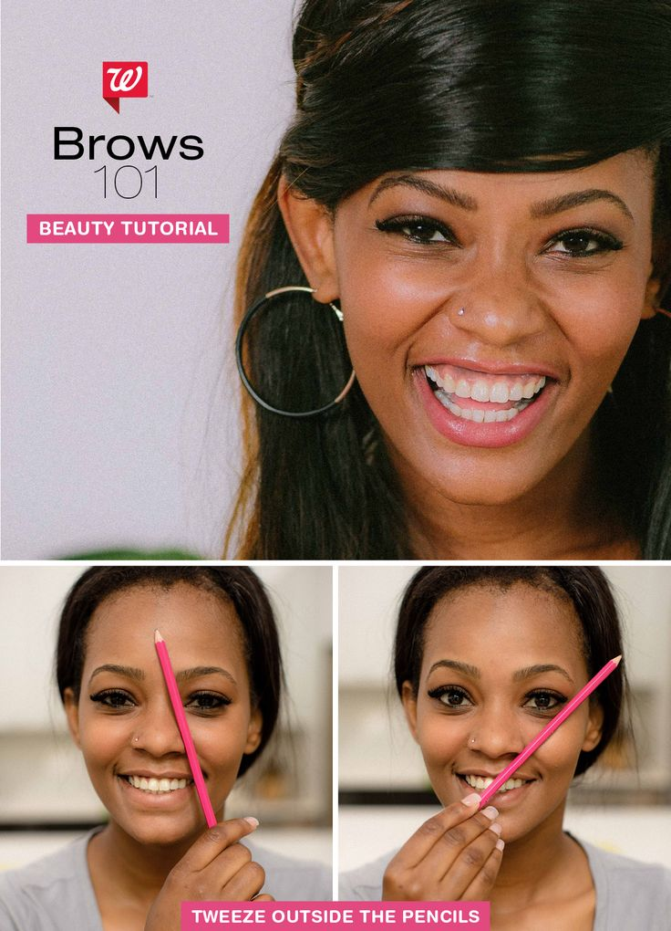 Shape your eyebrows with these pro makeup artist tricks! Simply align a pencil against the side of your nose—then again from your nose to outer eye. Tweeze outside of these areas for flattering, customized brows! Get the full tutorial on our Be Beautiful blog!