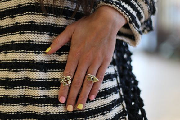 pastel nails and cool rings