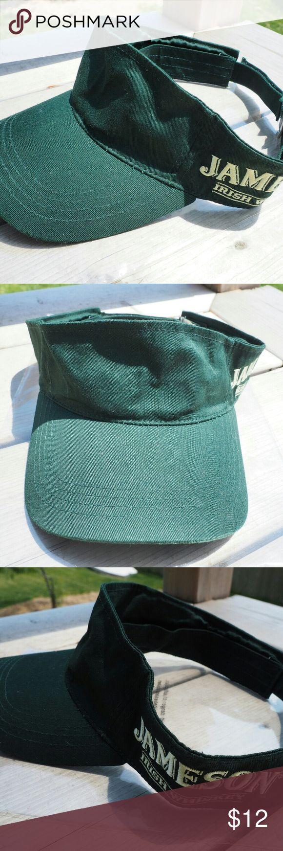 Jameson Irish Whiskey Golf Visor Green Velcro Adjustable Visor  Jameson Irish Whiskey Logo script on the side Accessories Hats