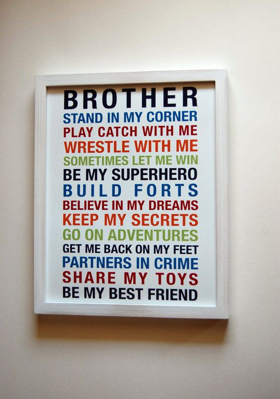 The Chic Technique: Brothers Wall Art Printable Boys Room Decor by fairplayprintables