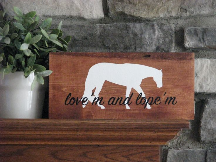 Love'm and Lope'm - check out more rustic signs for the equestrian at https://www.facebook.com/pg/louloubonbon410/photos/?ref=page_internal  Rustic signs, hunter under saddle, motivational equestrian, equine life