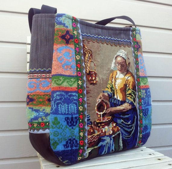 Large bag Tote with The Milkmaid from Vermeer от dutchsisters
