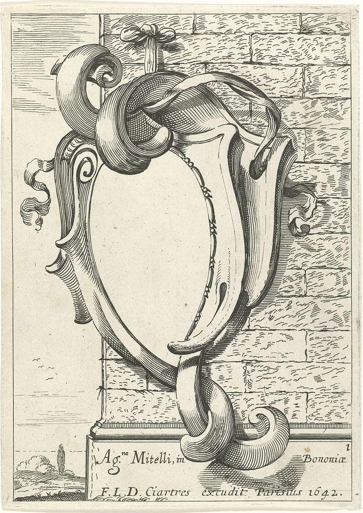 Anonymous   Titelpagina voor serie cartouches, Anonymous, François Langlois, 1642   Eerste prent uit een serie van twaalf met kopieën naar een serie cartouches door Agostino Mitelli. Titelblad met cartouche dat met twee linten aan een muur is bevestigd. Links gezicht op een landschap.