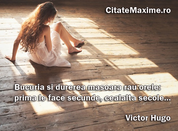 """""""Bucuria si durerea masoara rau orele: prima le face secunde, cealalta secole."""" #CitatImagine de Victor Hugo Iti place acest #citat? ♥Distribuie♥ mai departe catre prietenii tai. #CitateImagini: #ExperienteDeViata #VictorHugo #romania #quotes Vezi mai multe #citate pe http://citatemaxime.ro/"""