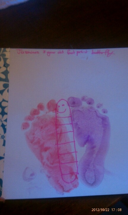my daughters foot butterfly