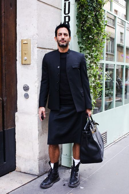 Real men aren't scared of skirts as Marc Jacobs so eloquently portrays in this picture.