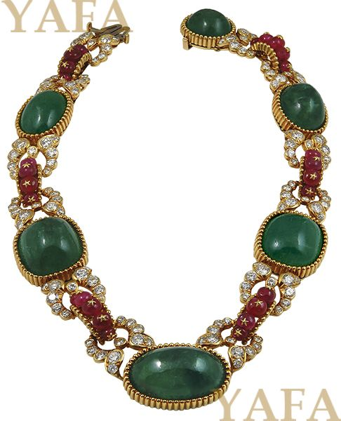 VAN CLEEF & ARPELS Cabochon Emerald, Ruby and Diamond Neckclace