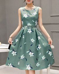 Sweet Style Round Neck Sleeveless Floral Print Zippered Women's Dress