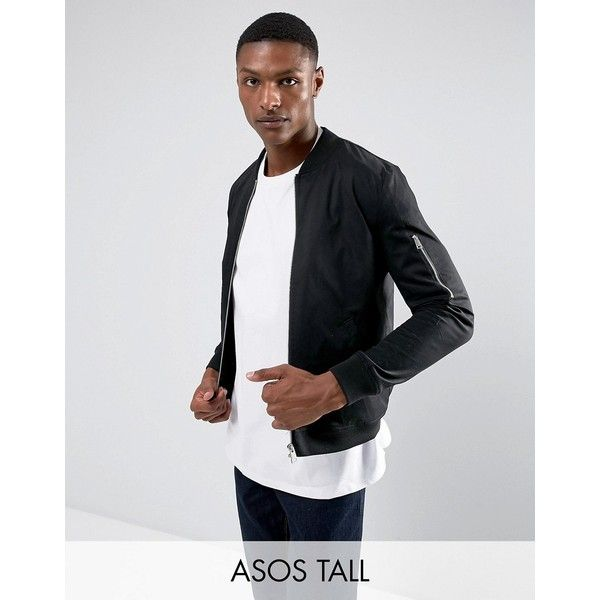 ASOS TALL Bomber Jacket With Sleeve Zip In Black ($49) ❤ liked on Polyvore featuring men's fashion, men's clothing, men's outerwear, men's jackets, black, mens fitted jacket, mens long bomber jacket, mens tall jackets, mens long jacket and mens tall outerwear