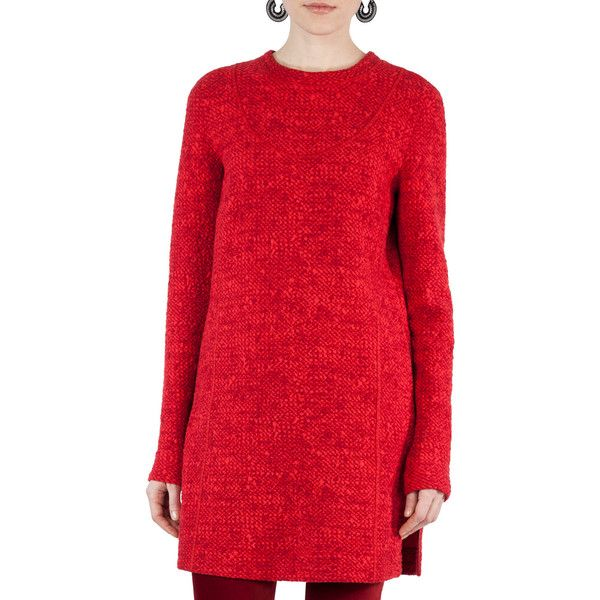 Akris Punto Melange Knit Tunic Dress ($795) ❤ liked on Polyvore featuring dresses, bright red, long sleeve shift dress, red knit dress, longsleeve dress, akris punto dress and red dress
