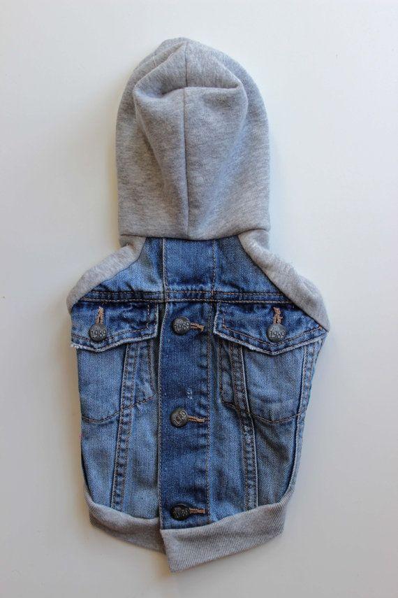 Upcycled Denim Dog Jacket with Sweatshirt Sleeve and Hood