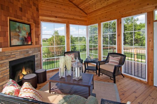 Knotty Pine Three Season Porch With Fireplace A Great