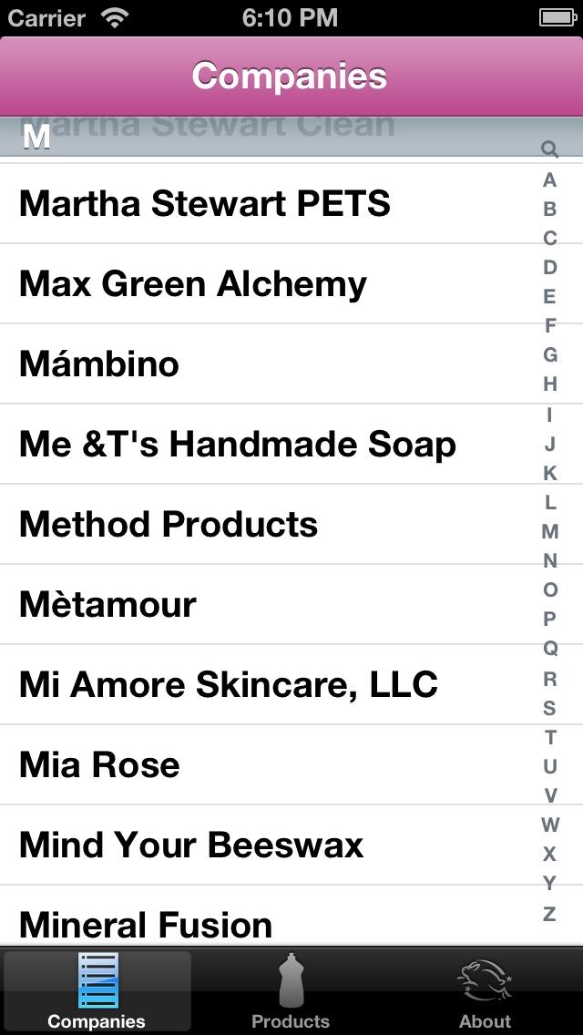 Cruelty-Free companies, in the Cruelty-Free app.