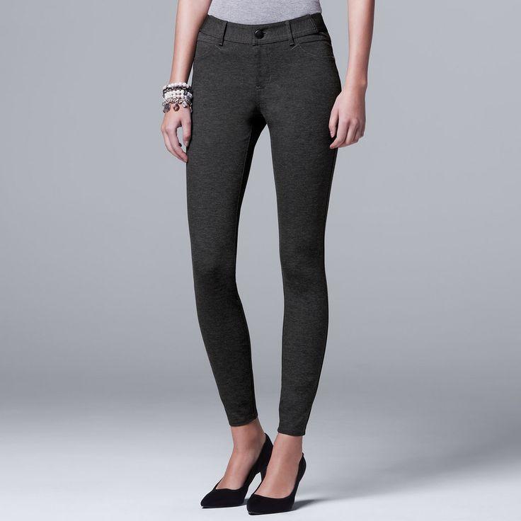 Petite Simply Vera Vera Wang Skinny Ponte Pants, Women's, Size: Pxl Short, Light Grey