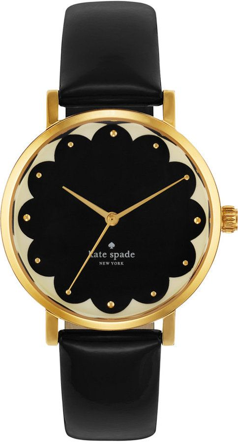 kate spade new york Watch, Women's Metro Black Leather Strap 34mm 1YRU0227