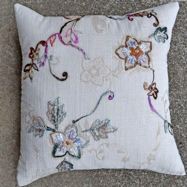 Chloe-Ivory 20x20 Embroidered Pillow [#2092]  Goemdee