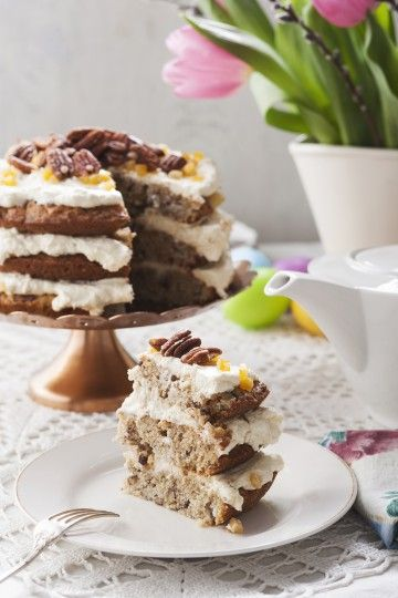 #tort orzechowy z bananami i ananasem #delektujemy #banana #pinapple #nuts #cake