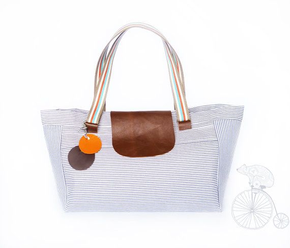Tote bag ecru nautical grey stripe  market tote  by dawnaparis, €55.00