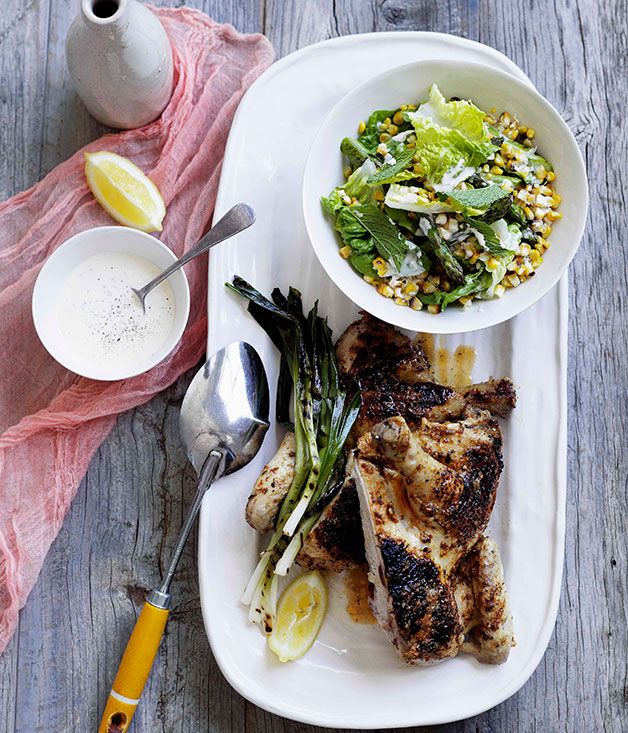 Char-grilled chicken with corn salad and buttermilk dressing