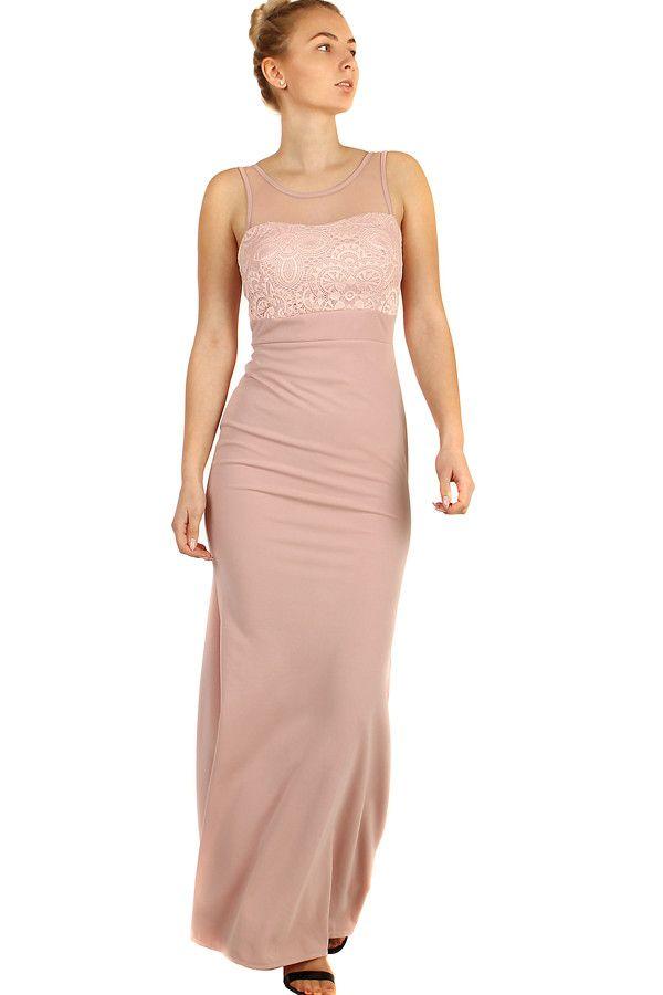 Dlouhé plesové šaty s krajkovým vrškem - koupit online na Glara.cz   damskesaty   2eb8582e0c